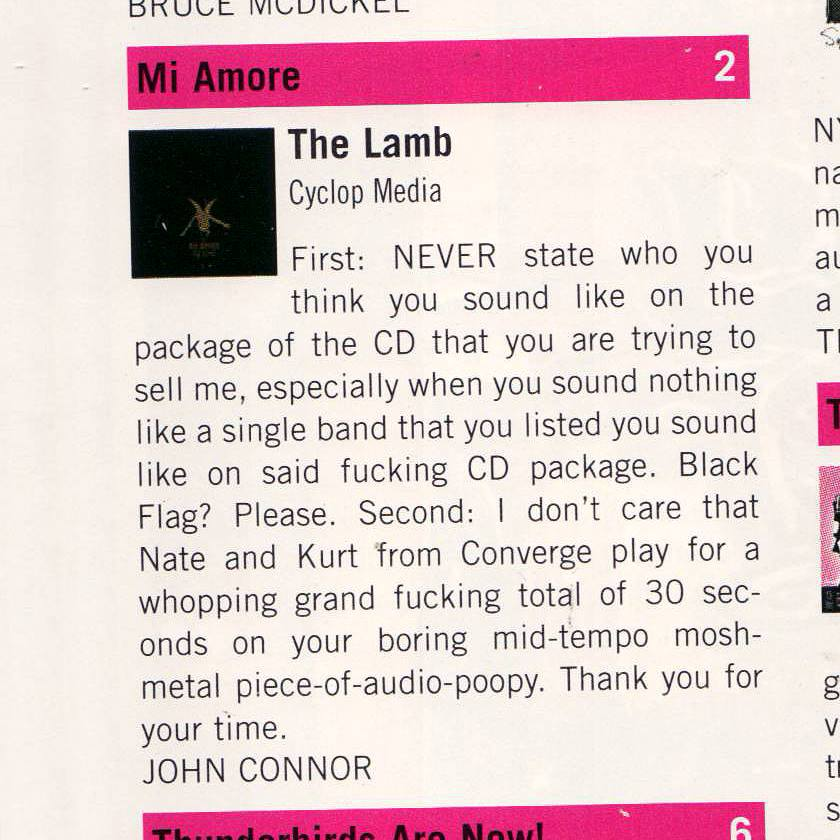MI AMORE 'The Lamb' review in VICE MAG (Volume 12 Numero 4) 'The Drugs Issue'