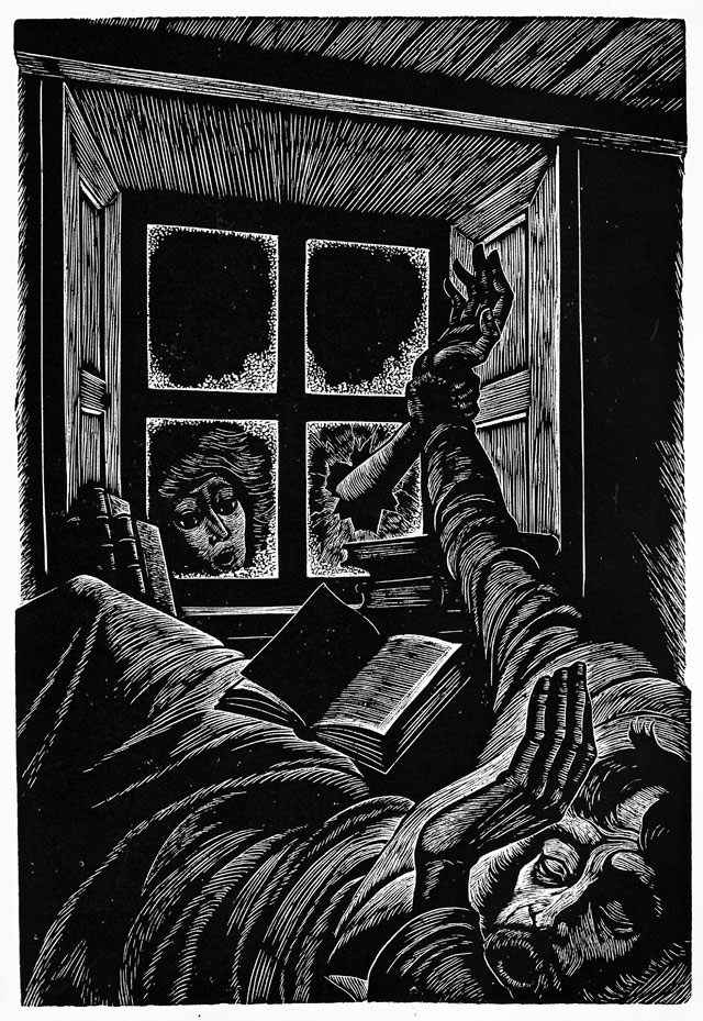 Illusration de Fritz Eichenberg pour 'Wuthering Heights' d'Emily Bronte