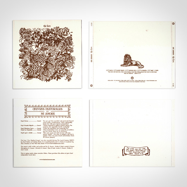 MI AMORE 'The Lion, Five Mystical Songs' (2007) 1000 copies CD sur Cyclop Media (C 015)
