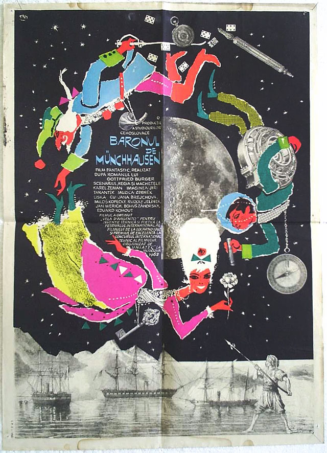Movie Poster for 'Baron Prásil / The Fabulous Baron Munchausen' (1961) Dir. by Karel Zeman