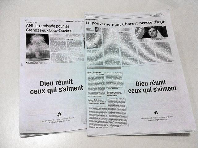 'Dieu réunit ceux qui s'aiment' Publicité publiée dans les pages de le Soleil (p. 13) et de Le Journal de Québec (p. 18)