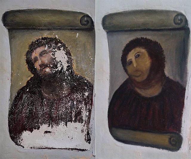 En Espagne, la restauration d'une peinture du Christ fait hurler