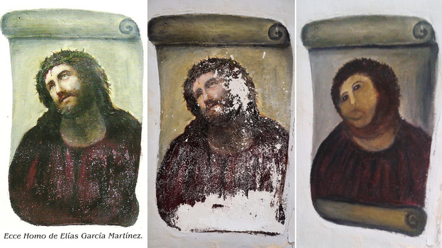 """CHRIST DE BORJA - """"Un travail de cochon"""", titre le quotidien El Heraldo de Aragón ce mardi 21 août, faisant référence à ce qui pourrait bien être la pire restauration artistique de l'histoire."""