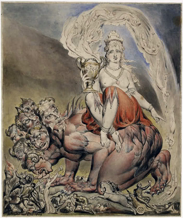 William Blake, The Whore of Babylon, 1809, Pen and black ink and water colours, 266 x 223 mm, © The Trustees of the British Museum