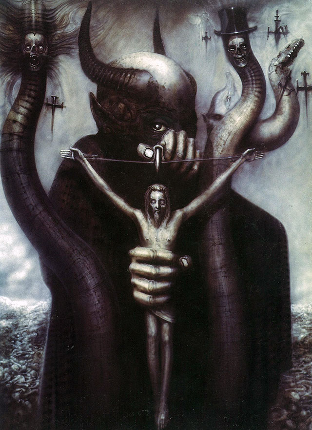 """Satan I"" - Painting by H.R. Giger, used as the album art for Celtic Frost's ""To Mega Therion"""