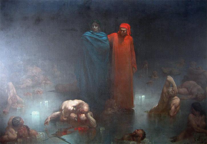 Dante et Vergil dans le neuvième cercle de l'enfer (1861) de GUSTAVE DORÉ