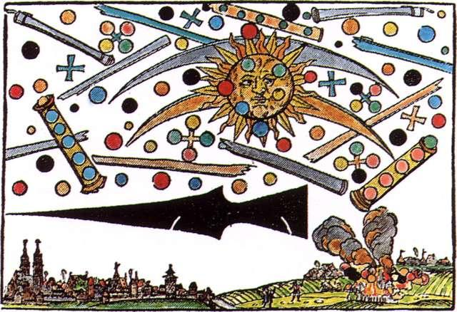 A wood cut found in Nurnberg Germany in 1561 depicts a large dark missile with a many others like it in the sky. Also depicted are globes, cylindrical space ships, and the sun.