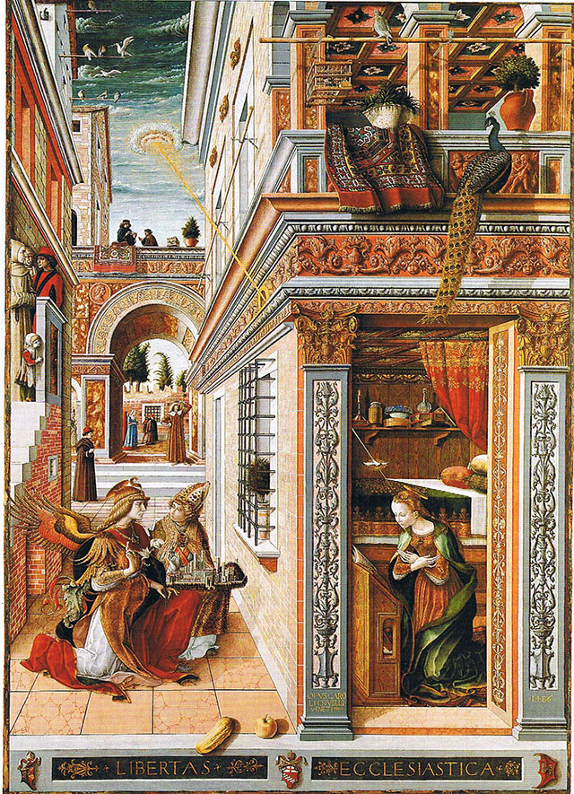 """The Annunciation with Saint Emidius"" (1486) by CARLO CRIVELLI"