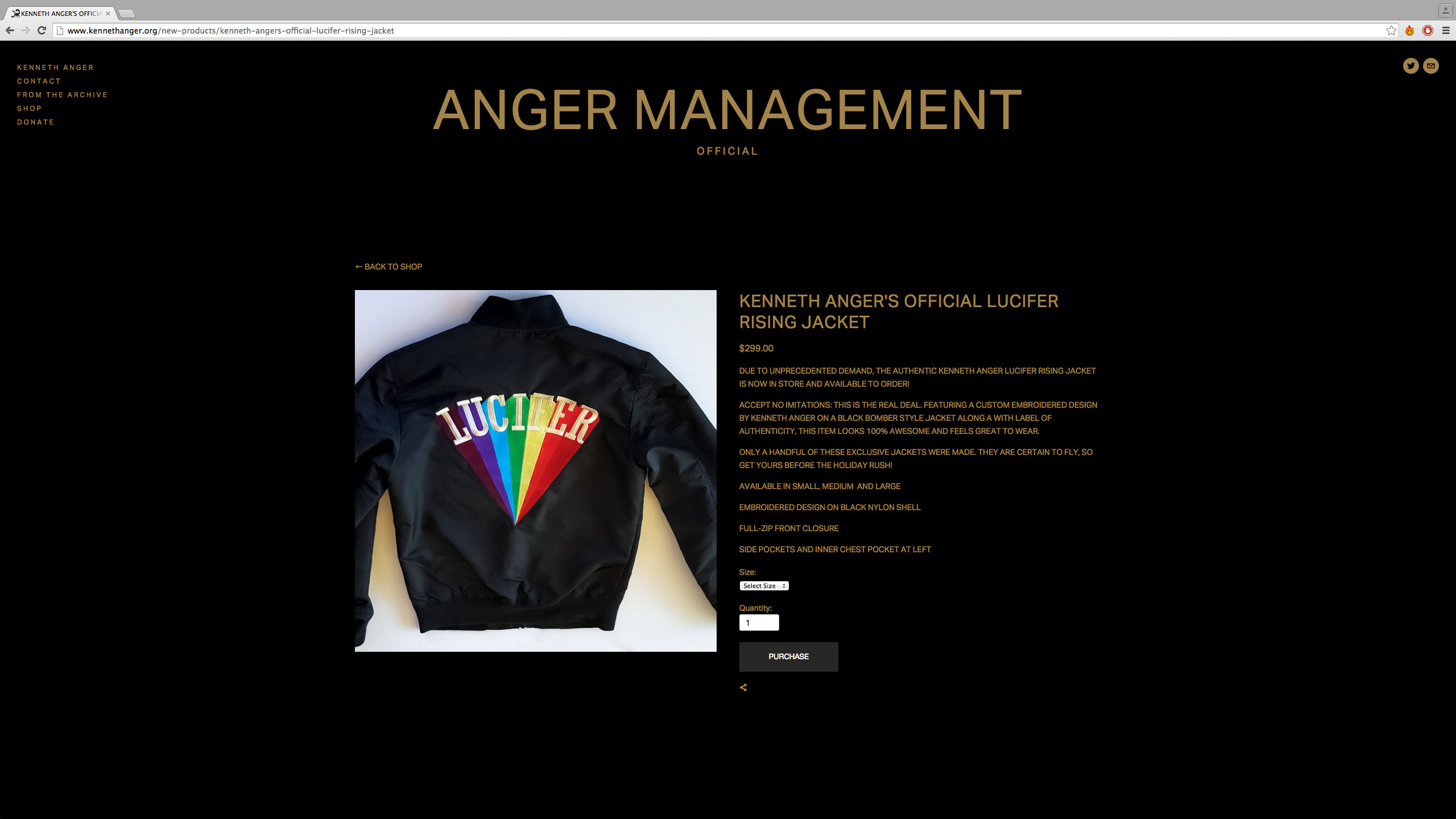 KENNETH ANGER OFFICIAL LUCIFER RISING JACKET