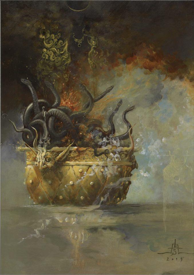 DAVID S. HERRERIAS 'Chalice of Revelation' (2015) acrylics on canvas, 44 x 35 cm