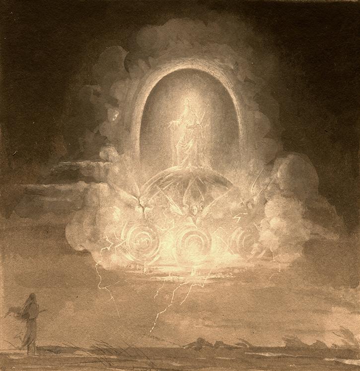 NATALIA SMIRNOVA 'Chariot vision' (Prophet's Iezekiil vision, 2011), tempera, 14/14sm