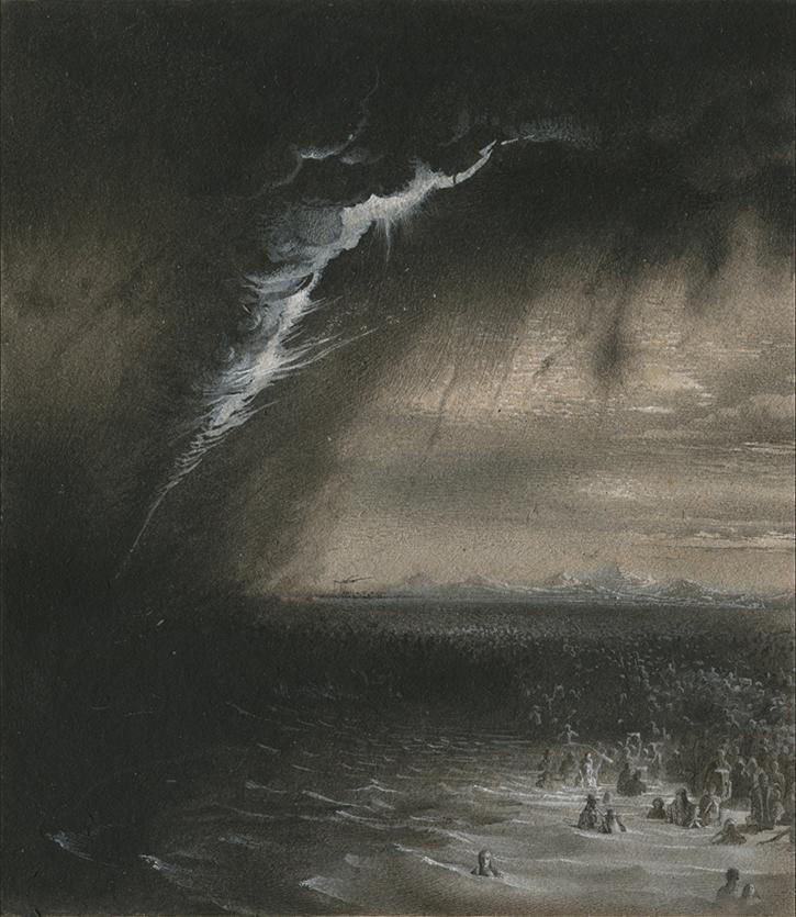 NATALIA SMIRNOVA 'Yam Suph', tempera/cardboard,17,5/15cm sketch
