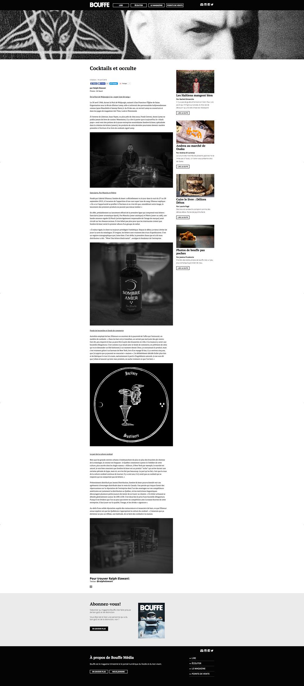 SOMBRE & AMER par RALPH ELAWANI dans le magazine BOUFFE, mai MMXVI