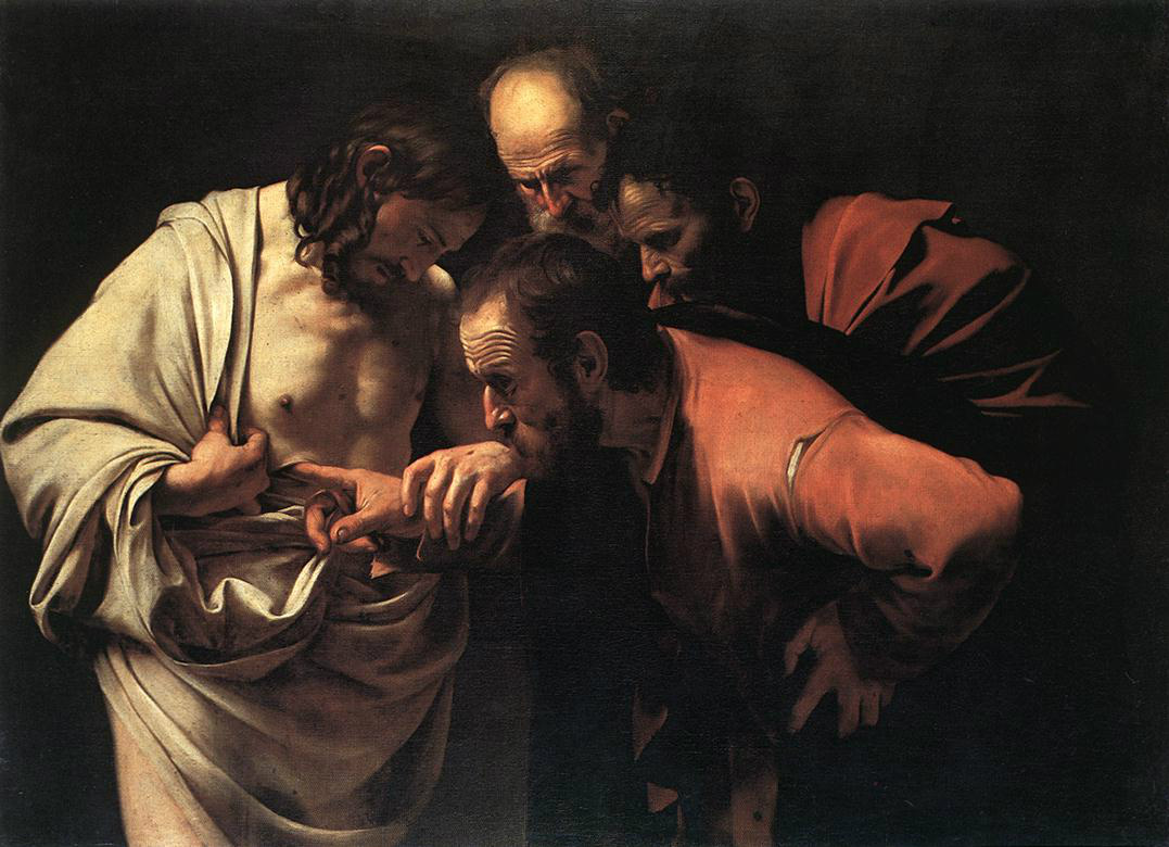The Incredulity of Saint Thomas (1603) by CARAVAGGIO