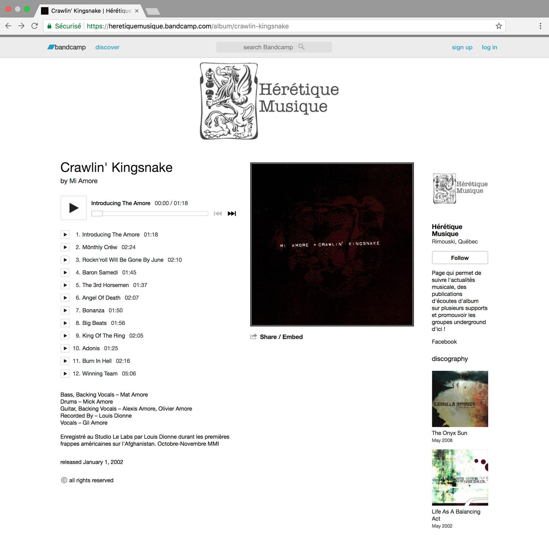 MI AMORE 'Crawlin' Kingsnake' (2002) sur Hérétique Musique (Bandcamp)