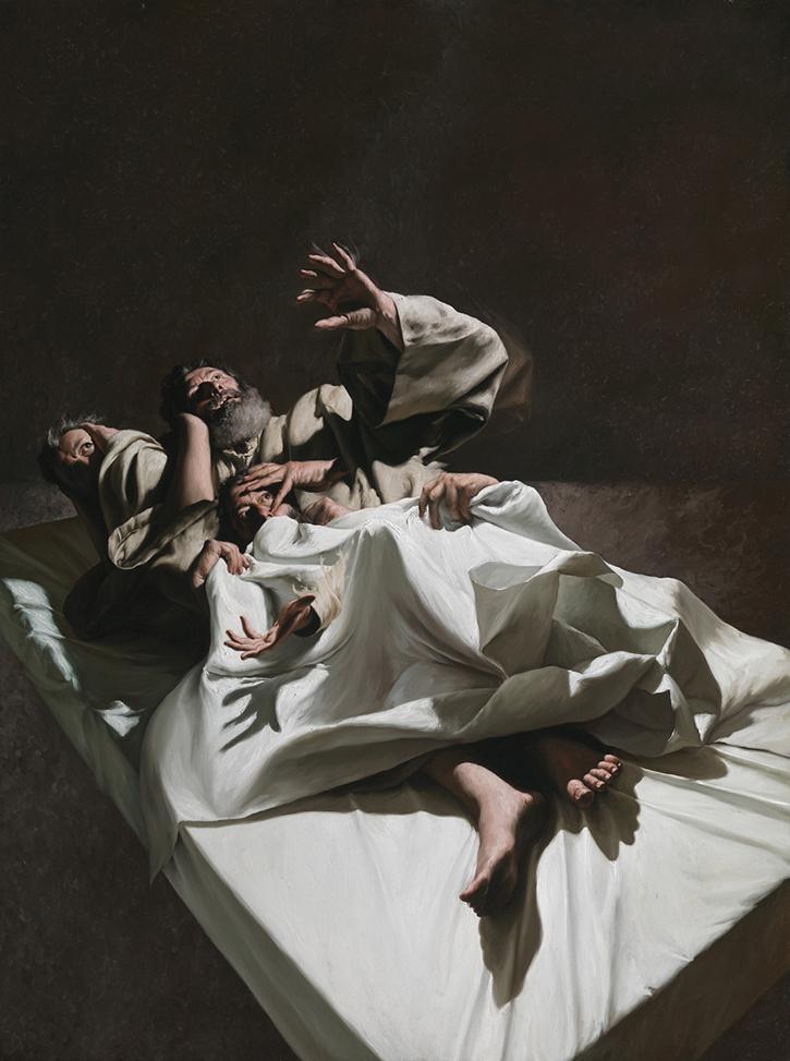 GIOVANNI GASPARRO 'Il sogno di san Giuseppe', Olio su tela, 207 X 155 cm, 2012. Image copyright © Archivio dell'Arte / Luciano Pedicini