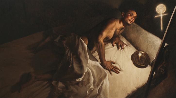 GIOVANNI GASPARRO 'In hoc signo vinces. Il sogno di Costantino', Olio su tela, 115 X 207 cm, 2015. Image copyright © Archivio dell'Arte / Luciano Pedicini