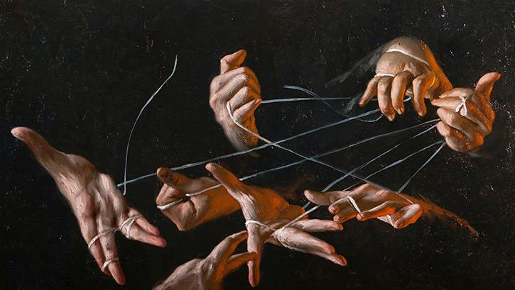 GIOVANNI GASPARRO 'La mano destra che sa cosa fa la sinistra', Olio su tela, 40 X 70 cm, 2011