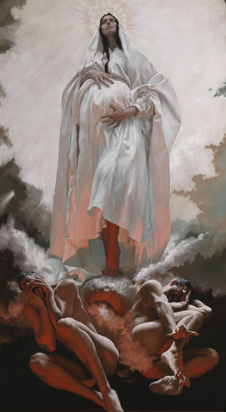GIOVANNI GASPARRO 'La visione di san Giovanni a Patmos. La Donna vestita di sole', Olio su tela, 325 X 180 cm, 2012. Image copyright © Archivio dell'Arte / Luciano Pedicini