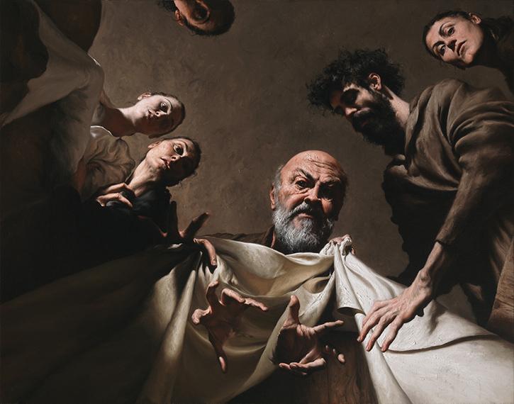 GIOVANNI GASPARRO 'Labano cerca gli idoli nel baule di Giacobbe', Olio su tela, 119 X 151 cm, 2013. Image copyright © Archivio dell'Arte / Luciano Pedicini