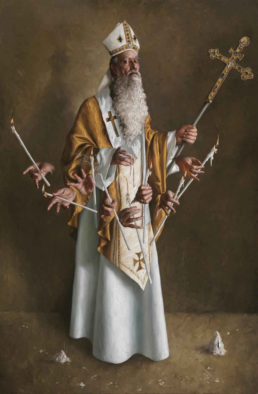 GIOVANNI GASPARRO 'San Biagio vescovo e martire', Olio su tela, 216 X 143 cm, 2011. Image copyright © Archivio dell'Arte / Luciano Pedicini