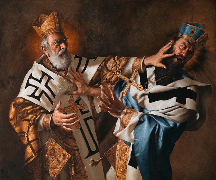GIOVANNI GASPARRO 'San Nicola di Bari schiaffeggia l'eresiarca Ario', Olio su tela, 100 X 120 cm, 2016. Image copyright © Archivio dell'Arte / Luciano Pedicini