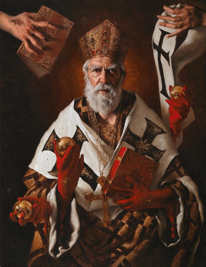 GIOVANNI GASPARRO 'San Nicola di Bari', Olio su tela, 90 X 70 cm, 2016. Image copyright © Archivio dell'Arte / Luciano Pedicini