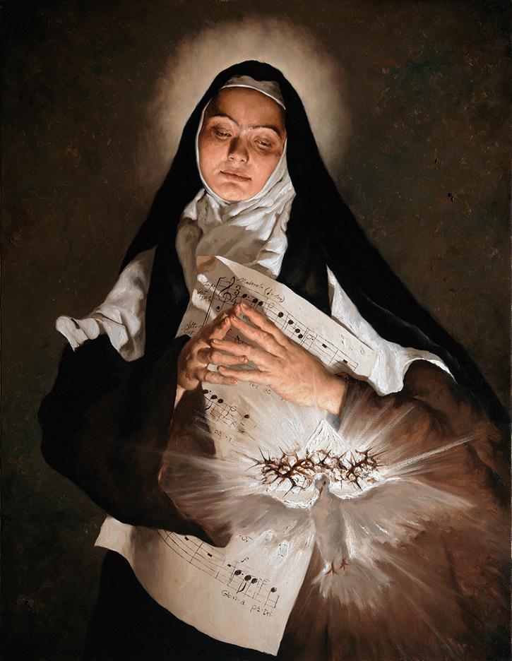 GIOVANNI GASPARRO 'Santa Elisabetta della Trinità', Olio su tela, 90 X 70 cm, 2016. Image copyright © Archivio dell'Arte / Luciano Pedicini