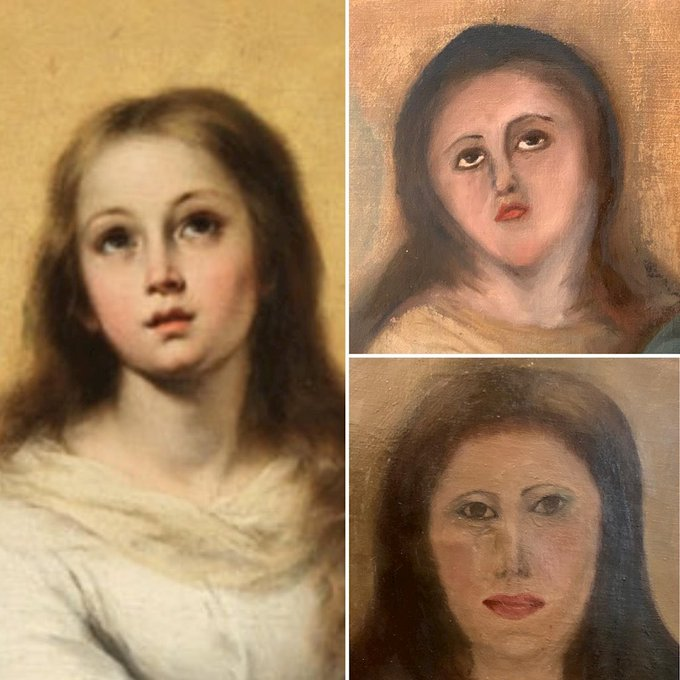 The original, from a copy of Bartolomé Esteban Murillo's work, and two restoration attempts. Courtesy of CEDIDA / EUROPA PRESS.